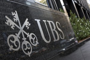 Logo of Swiss bank UBS is seen at their offices in New York