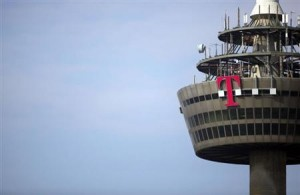 "Logo of Deutsche Telekom is pictured on ""Colonia"" TV tower in Cologne"