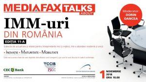 Mediafax Talks about IMM-uri din România – 1 noiembrie, la Hotel Intercontinental